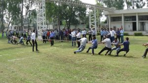 Employees engaged in playing Tug of war on sports day at ICC, Nalagarh Plant.